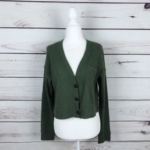AEO Soft Waffle Knit Green Button Up Sweater XS